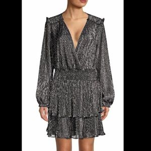 Parker Long-Sleeve Black and Silver Metallic Dress